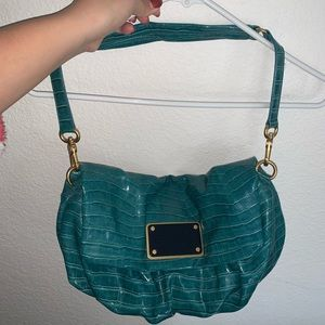 MARC JACOBS PATENT LEATHER WORKWEAR BAG TEAL BLUE